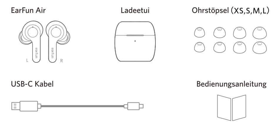 Im Lieferumfang sind neben dem Case, den Ohrhörern auch ein USB-C Ladekabel und SIlikonohrstöpsel in verschiedenen Größen.