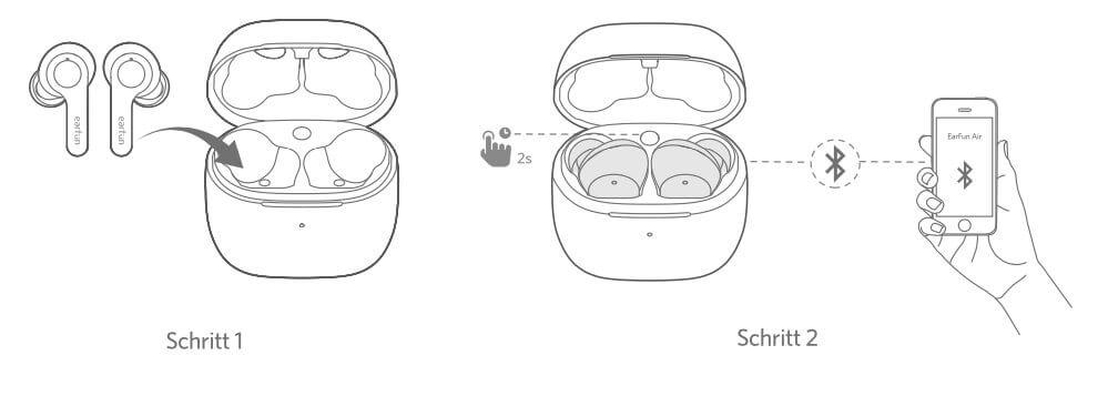 Das Pairing der EarFun Air mit neuen Geräten funktioniert über den Button im Case.
