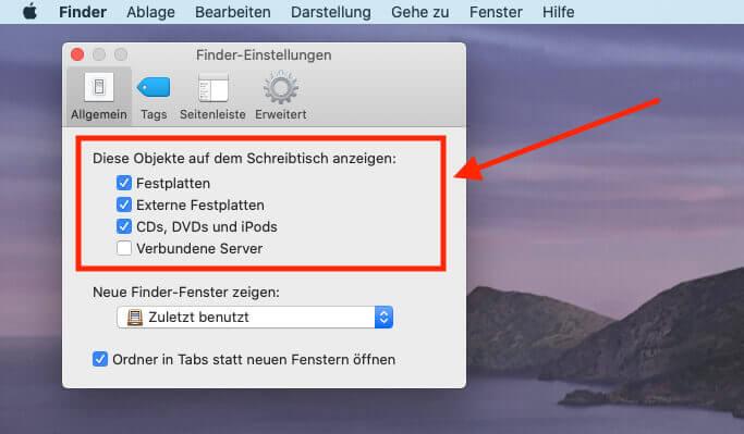 In den Einstellungen des Finders läßt sich festlegen, ob Festplatten wie die Macintosh HD auf dem Schreibtsich eingeblendet werden sollen oder nicht.