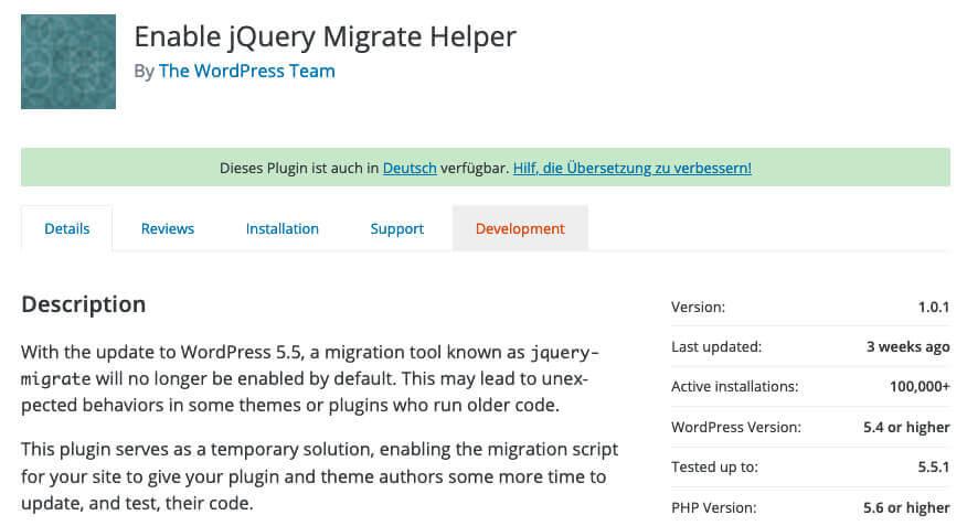 """Wenn speziell nach dem Update auf WP 5.5 Probkeme aufgetaucht sind, kann man dem Plugin """"Enable jQuery Migrate Helper"""" durchaus mal eine Chance geben."""