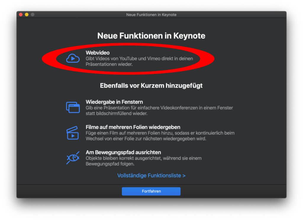 Web-Videos von YouTube und Vimeo können endlich auch in einer Keynote-Präsentation wiedergegeben werden – nicht nur in Pages oder Numbers :D
