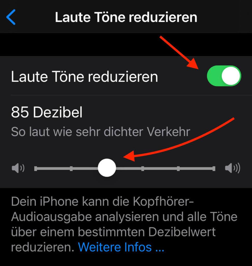"""Mit der Funktion """"Laute Töne reduzieren"""" kann das iPhone während der Wiedergabe die Lautstärke anpassen, um einen bestimmten Lautstärkepegel nicht zu überschreiten."""