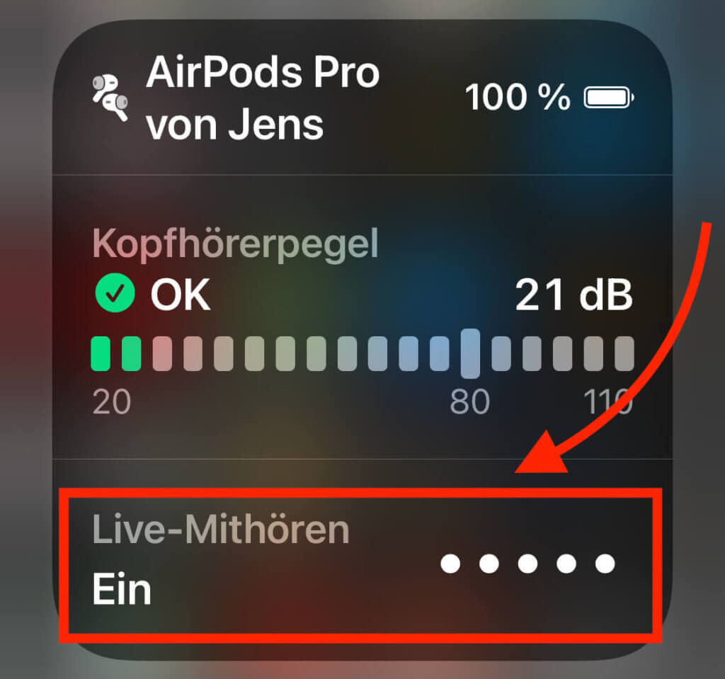 """Über die Funktion """"Live-Mithören"""" ermöglicht das Prüfen der Umgebungslautstärke über die Zeit."""