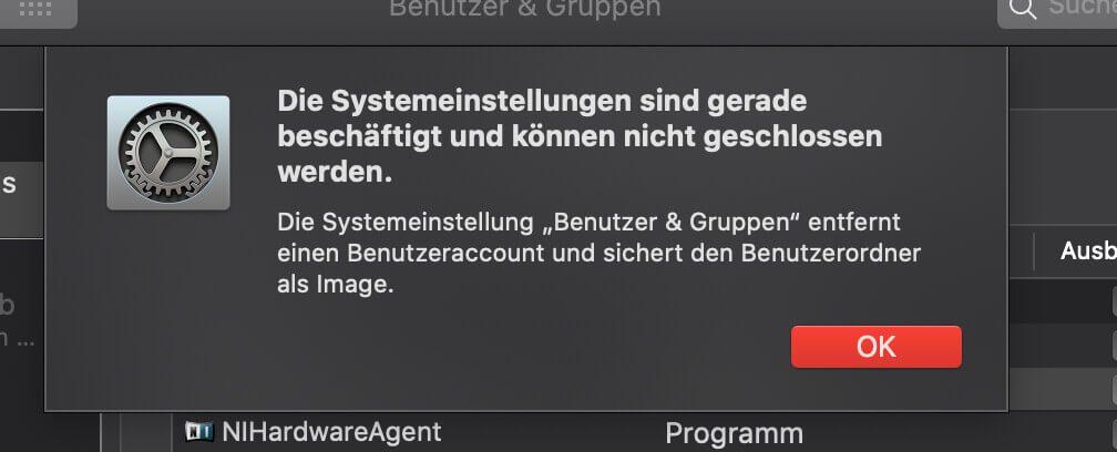 """""""Die Systemeinstellungen sind gerade beschäftigt und können nicht geschlossen werden."""" – diese Fehlermeldung war sogar mir neu (@Heinz: Danke für den Screenshot!)."""
