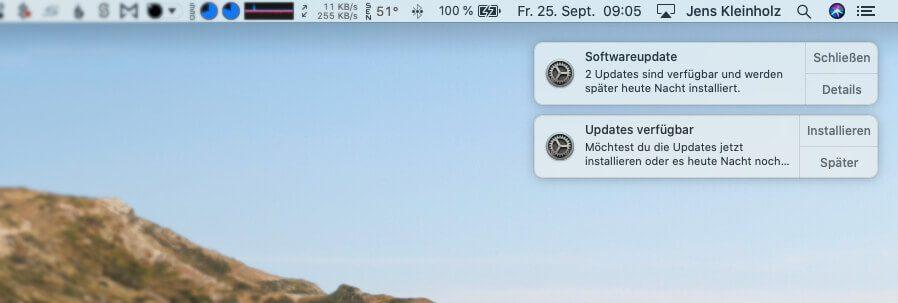 In der Regel informiert euch der Mac selbst über die anstehenden Updates.