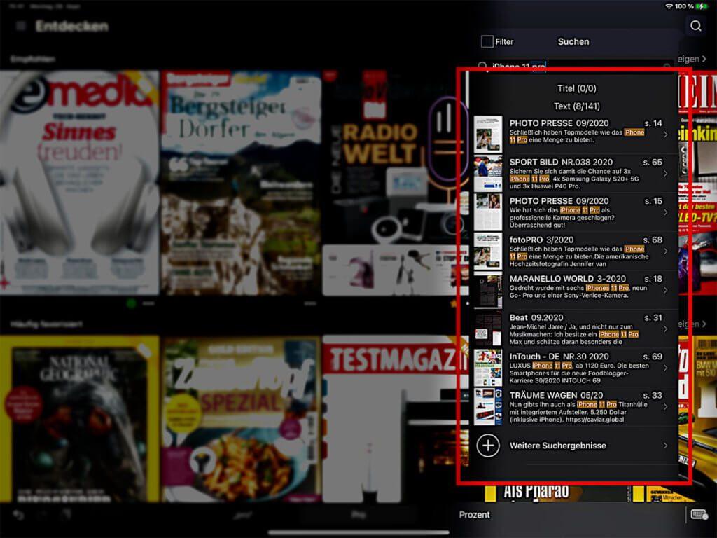 Über die Readly-Suche lassen sich Informationen zu bestimmten Produkten oder Themen deutlich leichter finden, als wenn man in einem Stapel Print-Magazinen rumwühlt.
