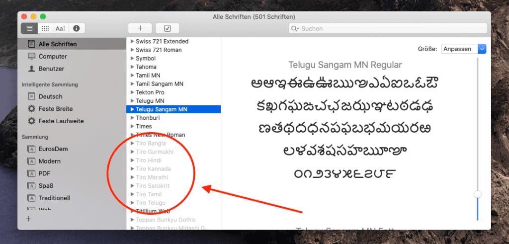 """Über das Dienstprogramm """"Schriftsammlung"""" am Mac lassen sich Schriften deaktivieren, ausser es handelt sich um Systemschriften, welche ausgegraut dargestellt werden."""