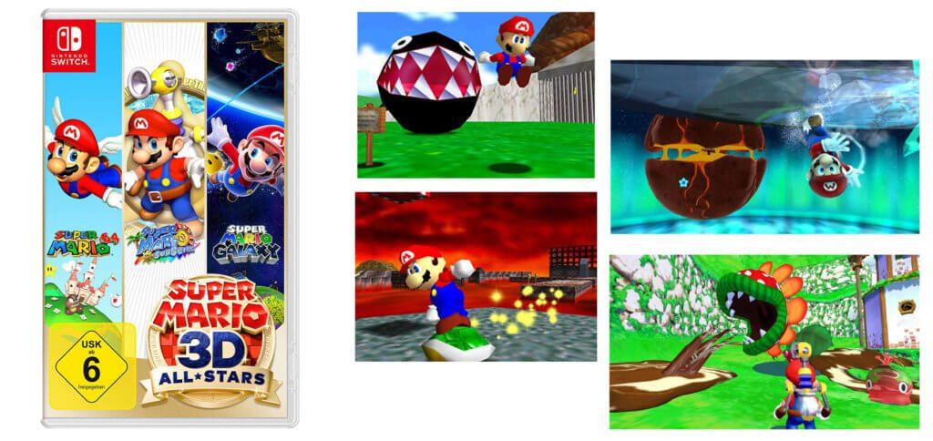Ab heute könnt ihr Super Mario 3D All-Stars kaufen. Bei Amazon lässt sich sowohl eine physische Version als auch ein Download-Code für den Nintendo eShop bestellen. Im Set enthalten sind Super Mario 64, Super Mario Sunshine und Super Mario Galaxy.