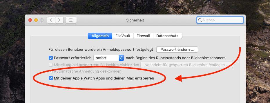 In Systemeinstellungen > Sicherheit lässt sich das Feature für das automatische Entsperren des Mac aktivieren.