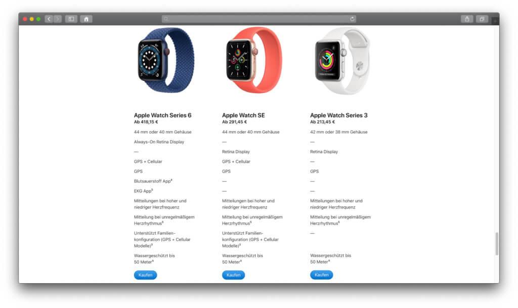 Den Vergleich von Apple Watch Series 6, Apple Watch SE und Apple Watch Series 3 findet ihr u. a. auf Apple.com.
