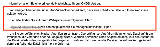 """Über das Plugin """"WP File Manager"""" konnte der Hacker ein Script auf den Server des Kunden laden."""