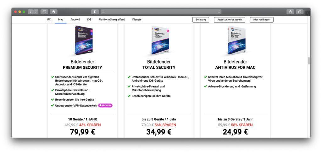 Diese Bitdefender-Pakete gibt es für macOS am Apple Mac. Zudem gibt es Kaufversionen für andere Betriebssysteme mit Antivirus, Anti-Ransomware, Phishing-Schutz, VPN und dergleichen mehr.
