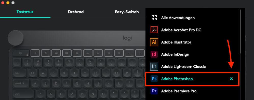 """Über die Software """"Logi Options"""" kann man die Sonderfunktionen für Photoshop und andere Apps ab- und anschalten – das hilft in der Regel schon."""