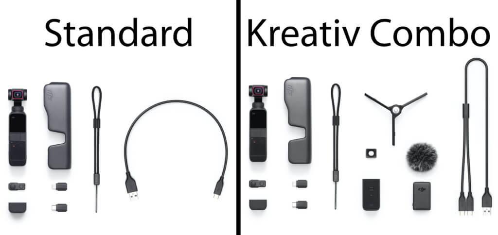 In der Standard-Ausführung ist nur das Nötigste enthalten. Die DJI Pocket 2 Kreativ Combo bietet zusätzlich Mikrofon- und Stativ-Ausrüstung zum Sparpreis.