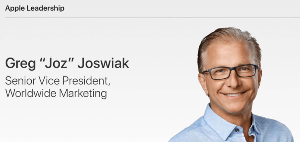 """Seit August 2020 ist Greg """"Joz"""" Joswiak der Senior Vice President für das Worldwide Marketing von Apple. Dies wird nun auch in der Leadership-Übersicht der Unternehmenswebseite aufgezeigt. Zuvor hatte Phil Schiller – der jetzt als Apple Fellow gelistet ist – den Posten inne."""