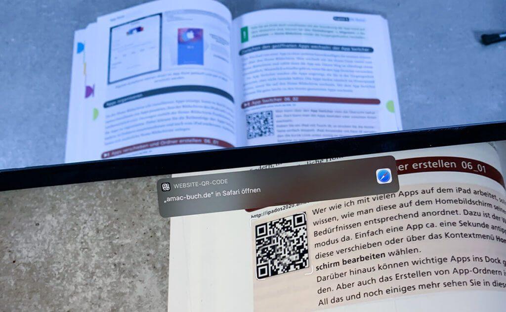 Die QR-Codes im Buch lassen sich mit dem iPad oder iPhone scannen und man kommt direkt auf das entsprechende Video zum Thema (Fotos: Sir Apfelot).