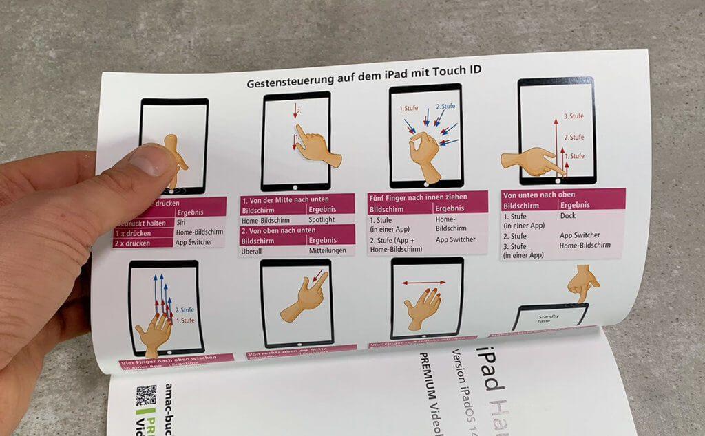 Auf den Umschlagseiten findet man die wichtigsten Gesten, um das iPad zu steuern – sehr praktisch für's schnelle Nachsehen.