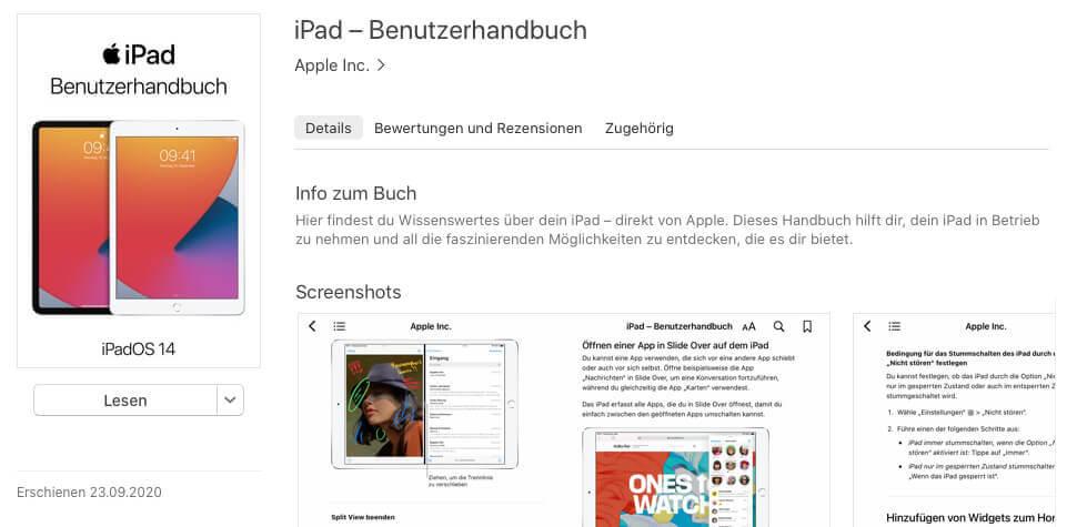 Das iPad-Handbuch ist gratis zu laden und synchronisiert sich dann über alle Apple-Geräte, die man hat.