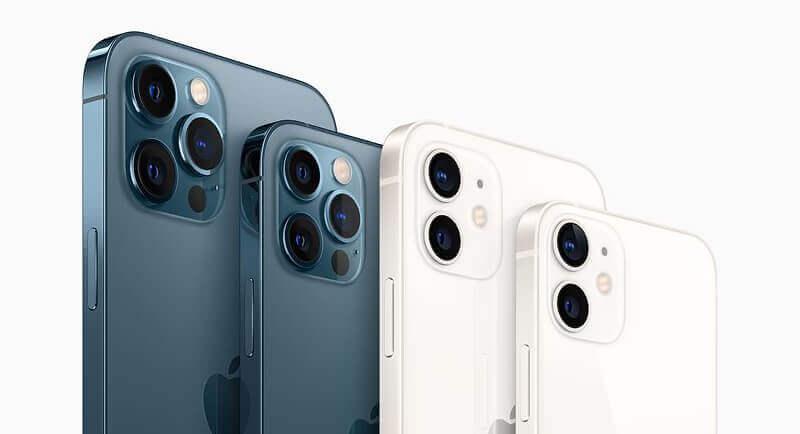 iPhone 12 Pro Max, iPhone 12 Pro, iPhone 12 und iPhone 12 Mini – hier alle nebeneinander im Foto zu sehen (Foto: Apple).