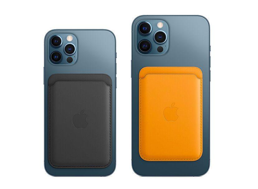 Hier sieht man die iPhone Leder Wallet an einem iPhone 12 Pro und einem iPhone 12 Pro Max.
