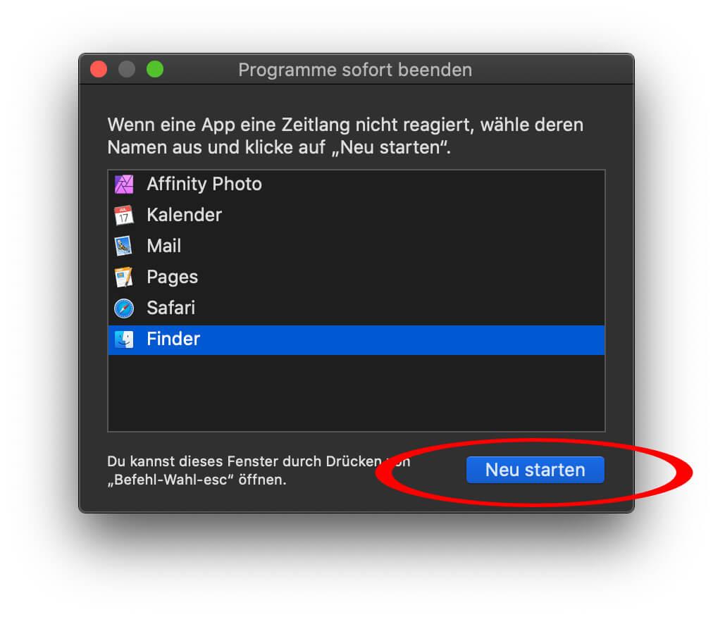 Sofort beenden – Das ist die Lösung für Mac-Apps die nicht mehr reagieren. Der Finder kann hier neu gestartet werden.