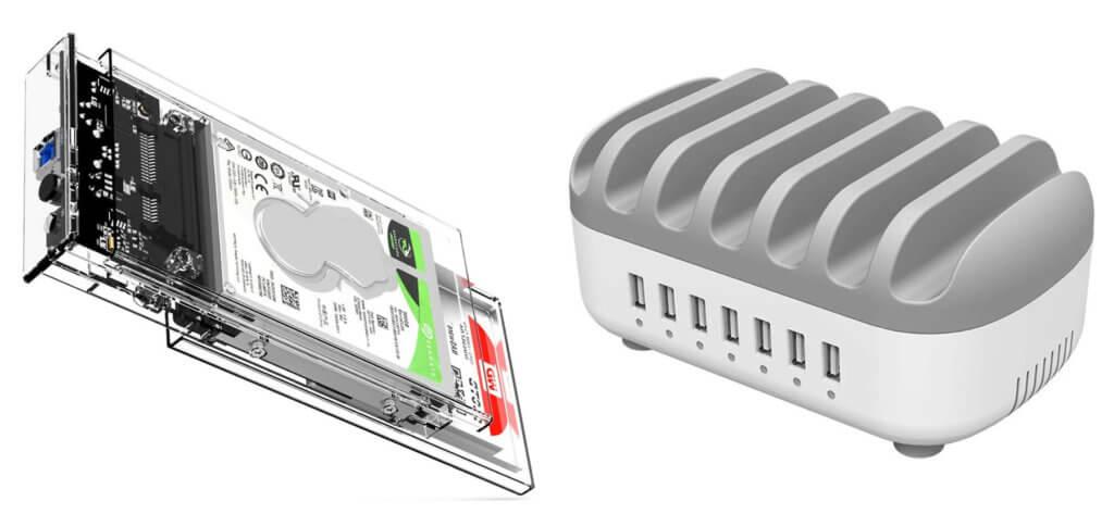 Zum Amazon Prime Day 2020 bekommt ihr von Orico drei Festplattengehäuse und eine USB-Ladestation mit 70 W Leistung günstiger.