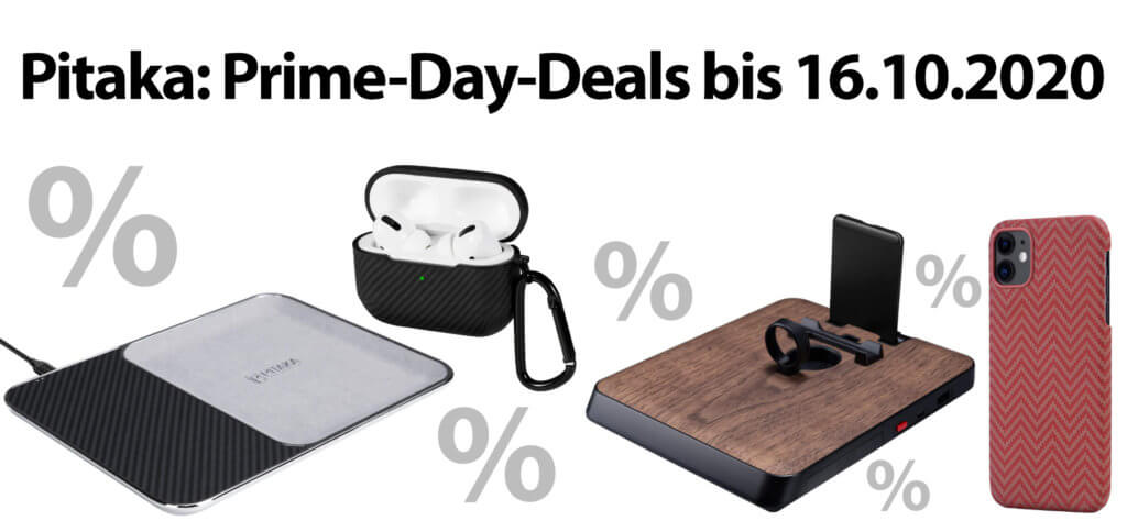 Von Pitaka gibt es nicht nur am Amazon Prime Day (13. + 14. Oktober 2020), sondern auch darüber hinaus einzelne Produkte mit bis zu 25% Rabatt. Hier findet ihr das günstige Zubehör für iPhone, Apple Watch, AirPods, iPad und Co.