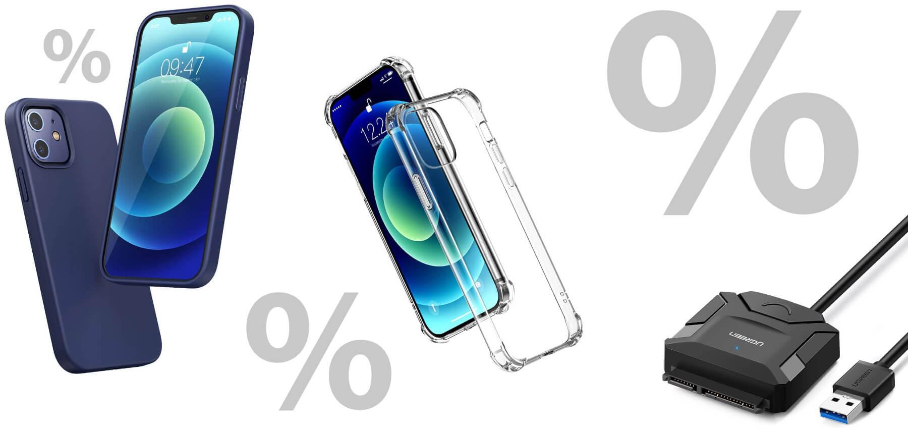 Eine iPhone 12 / 12 Pro Schutzhülle in Marineblau, eine transparente Schutzhülle sowie einen SATA-auf-USB-Adapter bekommt ihr aktuell von UGREEN günstiger.