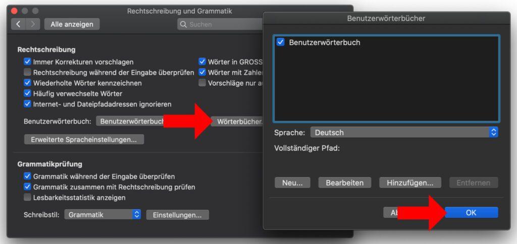 In den Word-Einstellungen unter macOS müsst ihr euch durch ein paar Fenster und Hinweise klicken, dann könnt ihr die Wörterbuch-Liste bearbeiten.