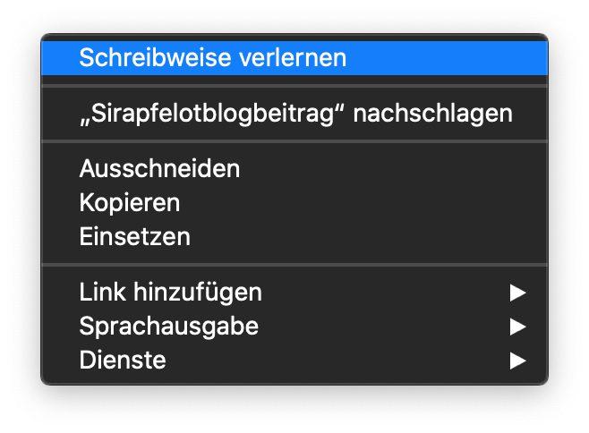 Ob mit oder ohne gedrückter ctrl-Taste – gelernte Wörter können von macOS in Pages direkt wieder vergessen werden.