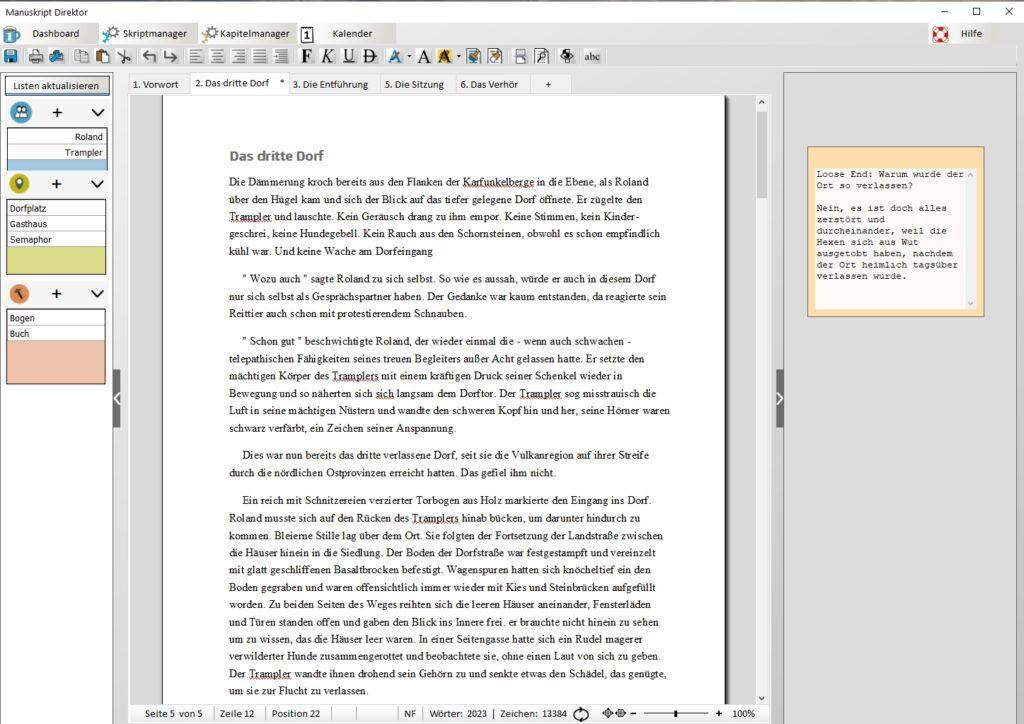 Mit den Tabs bzw. Registern in der SEITE 1 Autorensoftware können Kapitel einfach parallel bearbeitet werden. Dabei werden die jeweils verknüpften Inhalte links angezeigt. Zudem kann schnell zum Kalender und zu anderen Tools gesprungen werden. In den angekündigten App-Versionen soll es Möglichkeiten zum Plotten der Story und für Handlungsstränge geben.