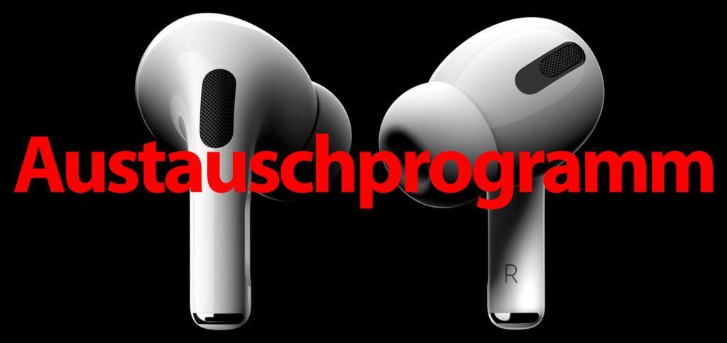 Apple hat Ende Oktober 2020 ein Rückruf- bzw. Austauschprogramm für die AirPods Pro gestartet, dank dem die Kopfhörer bei Tonproblemen oder nicht funktionierendem ANC kostenlos ersetzt werden. Details dazu findet ihr in diesem Beitrag.