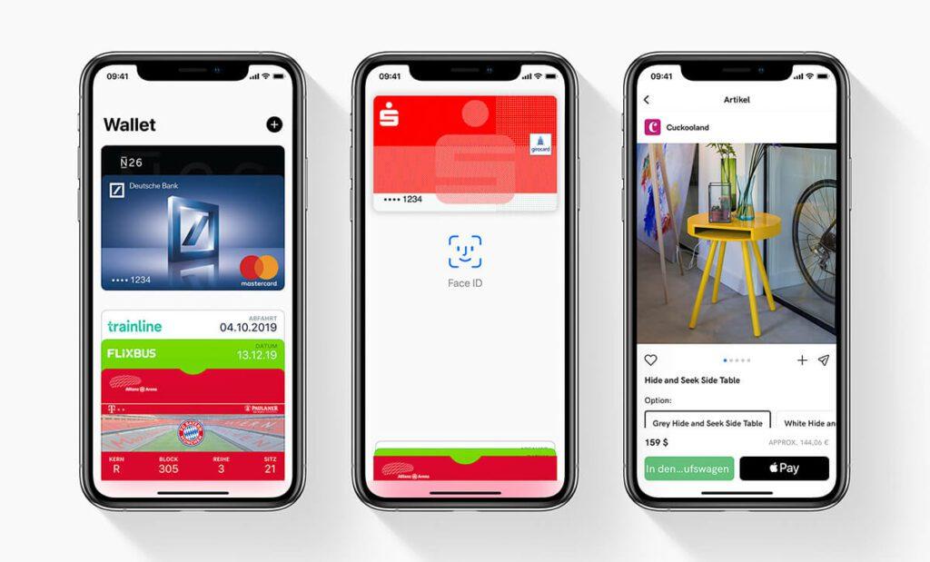Das Bezahlen mit Apple Pay: Kreditkarte auswählen, mit Face ID authentifizieren und zahlen – schnell, einfach und sicher (Fotos: Apple).