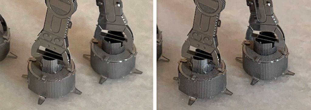 Wirft man einen Blick auf den Ausschnitt, der die Füße des AT-AT zeigt, sieht man beim iPhone Xs (rechts) mehr Details und mehr Kontrast. Die Farbe des Untergrundes hat dagegen das iPhone 12 Pro besser getroffen.