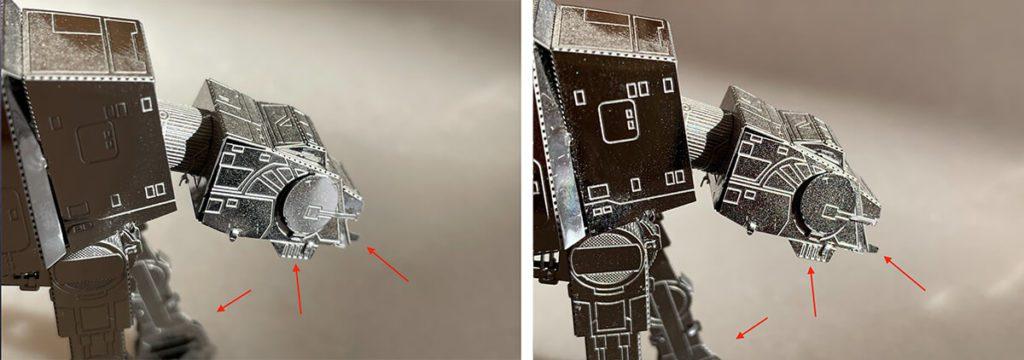 """Bei diesen Fotos entstand das links mit dem iPhone 12 Pro und das rechte mit dem iPhone Xs. Man sieht dort, wo die Pfeile hinzeigen, dass die Aufnahme des 12 Pro unschärfer ist. Vielleicht ist es auch die geringere Schärfentiefe, die einen """"Bokeh-Effekt"""" erzeugt."""