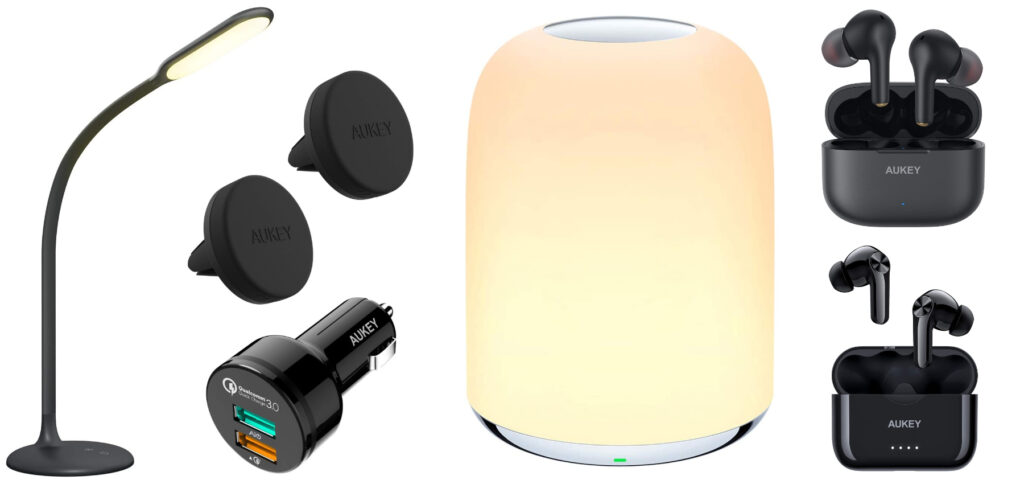 AUKEY bietet in der Black Week 2020 auf Amazon Rabatte für Lampen, Kopfhörer und Kfz-Zubehör an.