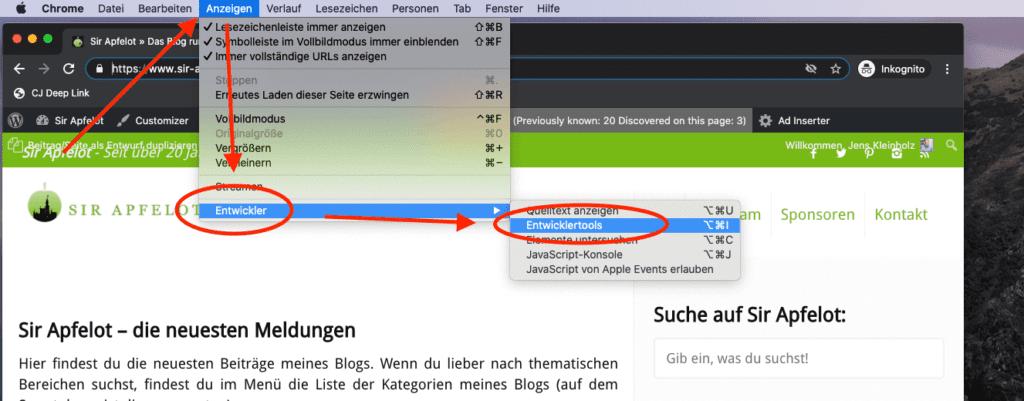 """Über das Menü """"Anzeigen"""" und """"Entwickler"""" kommt man in Chrome zu den Entwicklertools."""