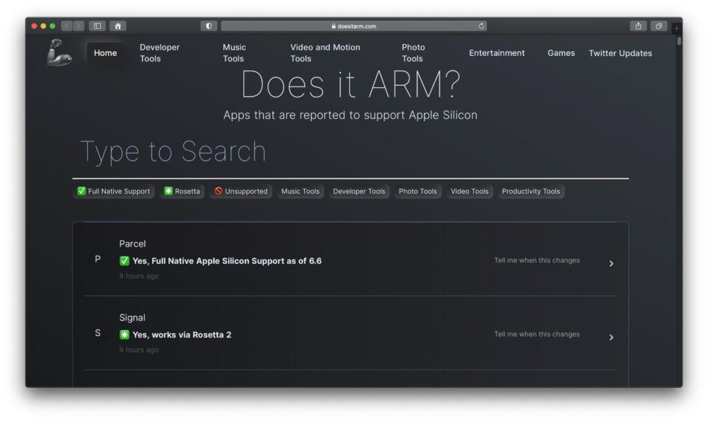 """Does it ARM? Welche Programme und Software-Versionen können mit dem ARM-Chip in den """"Apple Silicon""""-Macs genutzt werden? Auch diese Seite gibt Auskunft über die App-Kompatibilität."""