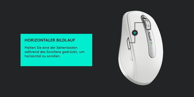 Durch die gleichzeitige Verwendung von Scrollrad und Seitentaste kann man auch horizontal scrollen.