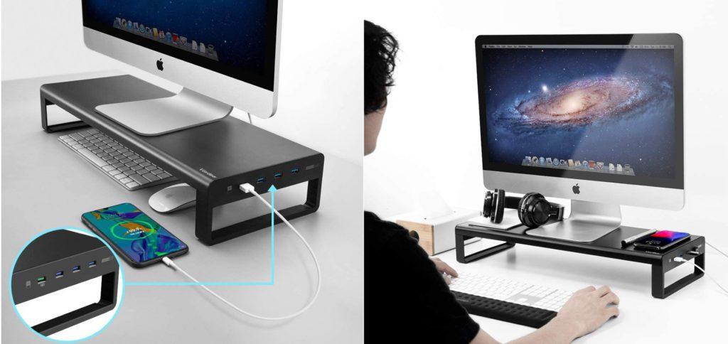 Eine Erhöhung für den iMac bzw. ein Monitorständer für Mac und PC bekommt ihr hier inklusive eingebautem USB-Hub sowie teilweise mit Qi-Ladefläche oder Klinke-Anschluss für Kopfhörer und Mikrofon. Ideal fürs Home Office. (Bilder: Vaydeer / Amazon)