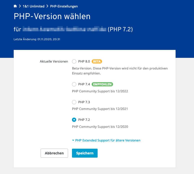 Bei Ionos kann man zu jeder Domain und Subdomain die PHP-Version auswählen.