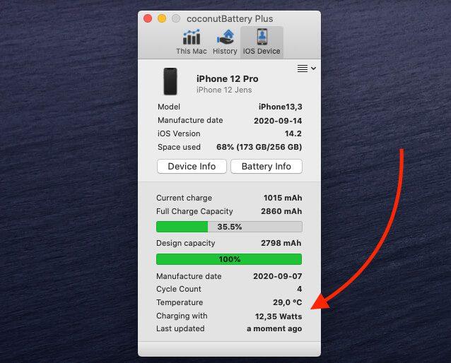 Keine 18 Watt, aber immerhin 12,3 Watt schafft MagSafe am iPhone 12 Pro. Bis es zu warm wird…