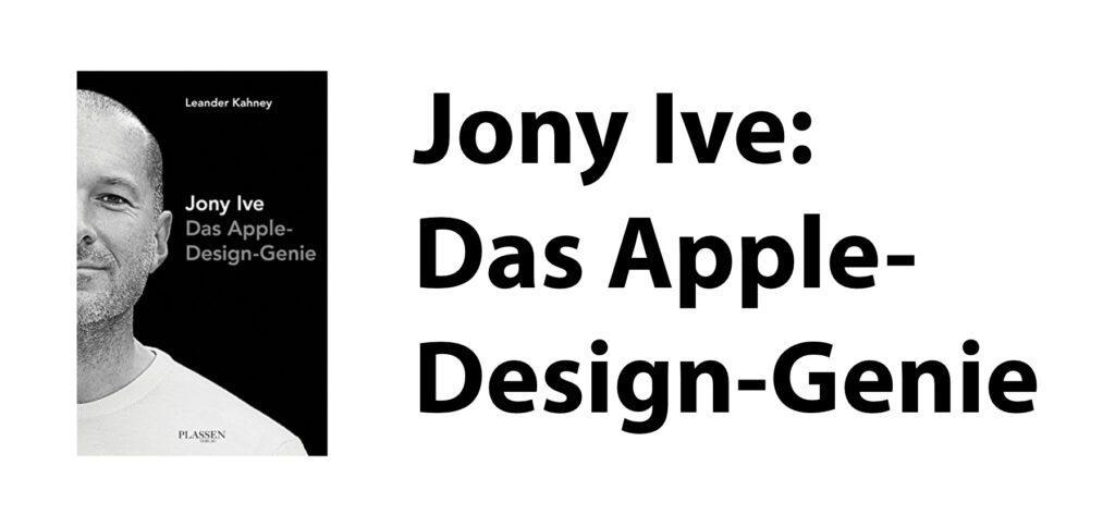 Jony Ive: Das Apple-Design-Genie von Leander Kahney ist eine Biografie, die den berühmten Designer und u. a. sein Wirken unter Steve Jobs zeigt. Das Buch zeigt seine Entwicklung bis 2014, dem Erscheinungsjahr. Jony Ive war bis 2019 bei Apple tätig.
