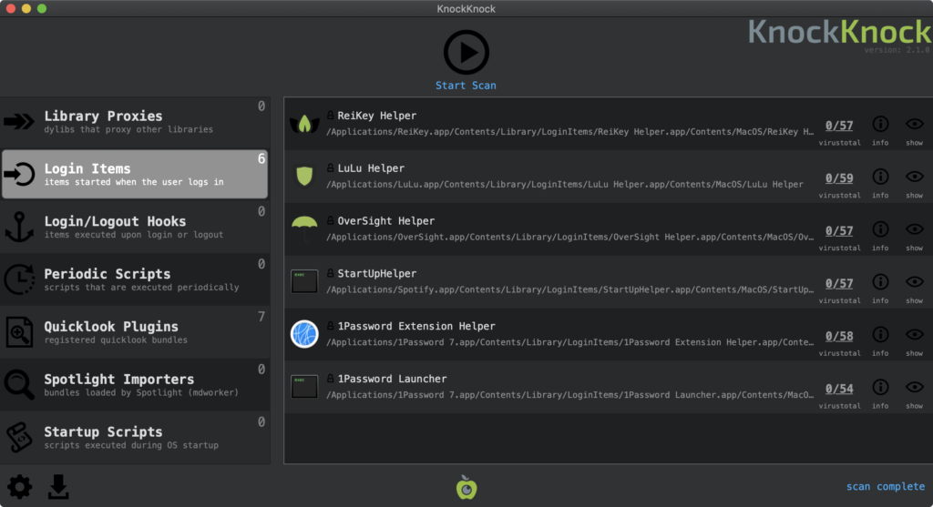 Mit dem Mac-Tool KnockKnock lassen sich Treiber und Systemerweiterungen am Mac durchschauen und deaktivieren.