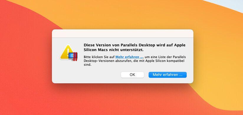 Parallels Desktop lässt sich zwar am Mac öffnen, aber wenn man seine virtuelle Windows Maschine öffnen möchte, erhält man diese Fehlermeldung.