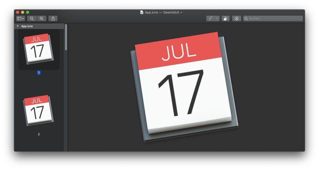 Um ein Mac App Icon zu kopieren und in Photoshop einzufügen, in Affinity Photo zu bearbeiten oder anderweitig zu nutzen, öffnet es in Vorschau und kopiert es dort.
