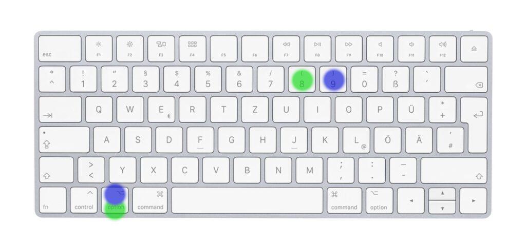 Geschwungene Klammer am Mac: Es kommt abermals der Option Key zum Einsatz, in Kombination mit 8 und 9.