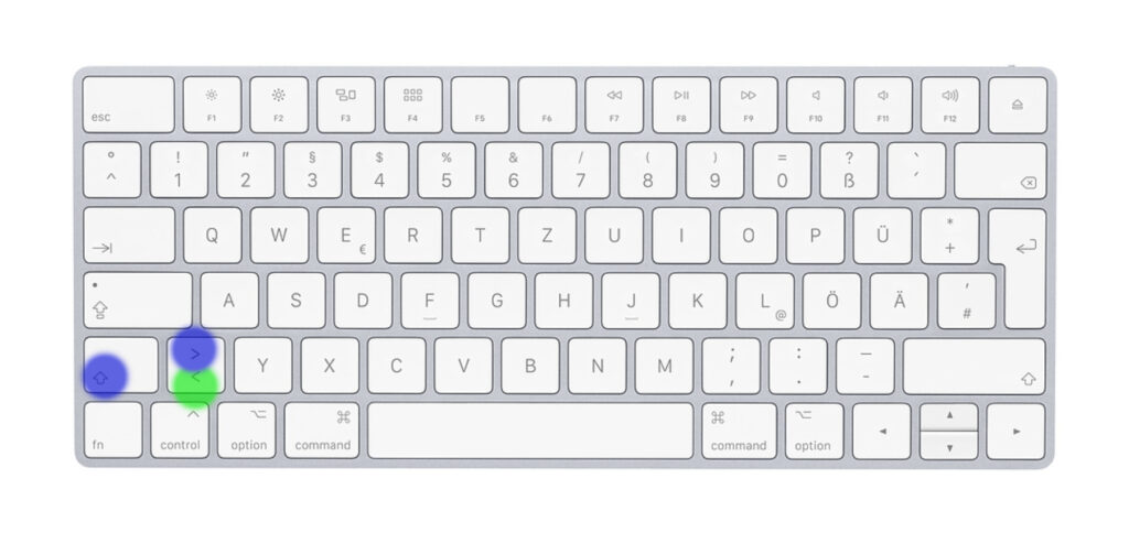 Spitze Klammer am Mac: Hier nutzt ihr die offensichtliche Taste(nkombination).