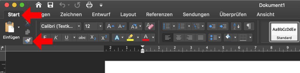 In Microsoft Word am Mac die Formatierung übernehmen, um eingefügten Text dem vorhandenen Text anzupassen –das geht mit diesem Symbol des Start-Menüs.