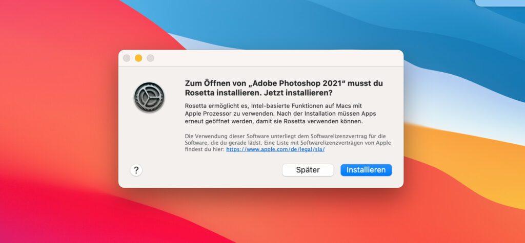"""Einige Apps, wie zum Beispiel Photoshop von Adobe, warten noch darauf, dass sie für die M1-Chips von Apple optimiert werden. Bis dahin springt der Universalübersetzer """"Rosetta"""" ein und macht die Programme für Apple Silicon lauffähig."""